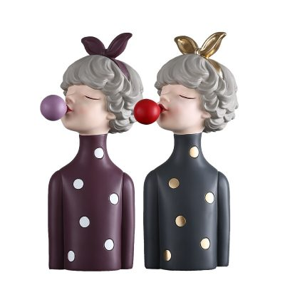 Nordic Bubble Bow-Knot Girl Resin Figurines For Home Decoration